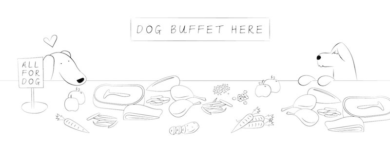 Sketch of a buffet table for dogs
