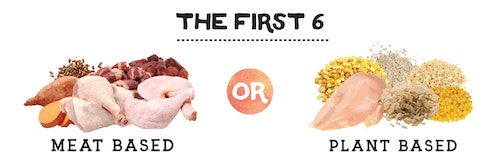 comparing the first six ingredients: are they majority meat or majority plant?