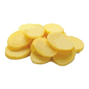 a pile of yellow potatoes