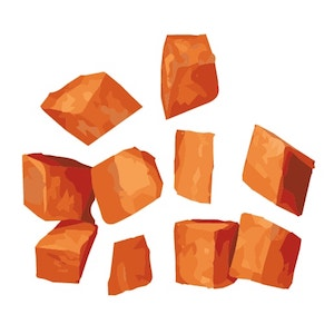 some cubed sweet potatoes