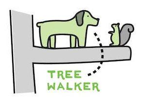 cartoon of dog climbing tree