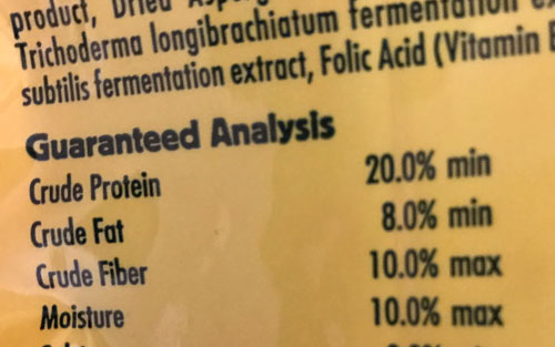 Guaranteed Analysis on a unidentified bag of pet food